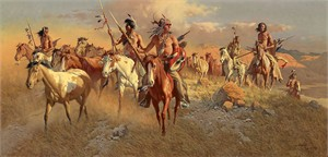 """Frank McCarthy Hand Numbered Limited Edition Anniversary Canvas Giclee:""""The Raiders"""""""