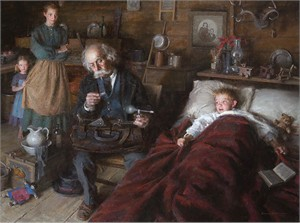 "Morgan Weistling Hand Signed and Numbered Limited Edition Canvas Giclee On Paper and Canvas:""Country Doctor """