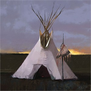 "Tom Gilleon Hand Signed and Numbered Limited Edition Giclee Gallery Wrap Canvas:""Head Dress Lodge"""