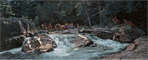 """John Buxton Hand Signed and Numbered Limited Edition Masterwork Canvas Giclee:""""Wilderness Inroads"""""""