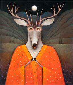 "John Simpkins  Hand Signed and Numbered Limited Edition Canvas Giclee:""Deer Edward"""