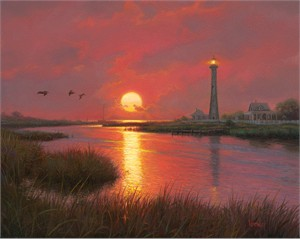 "Mark Keathley Hand Signed and Numbered Limited Edition Embellished Canvas Giclee:""Lighthouse Cove"""
