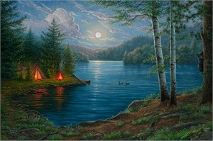 """Abraham Hunter Hand Signed and Numbered Limited Edition Embellished Canvas Giclee:""""Summer Night"""""""