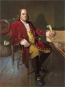 "Dean Morrissey Handsigned and Numbered Limited Edition Giclée Canvas:""Ben Franklin: Patriot and Renaissance Man"""