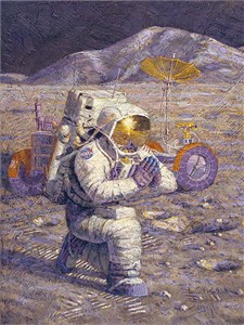 "Alan Bean (Astronaut) Hand Signed and Numbered Limited Edition Canvas Giclee:""We Came in Peace for All Mankind"""