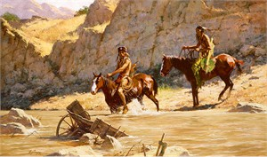 "Howard Terpning Hand Signed and Numbered Limited Edition Masterwork™ Giclée Canvas:""The River's Gift"""