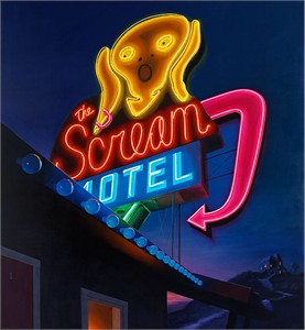 "Ben Steele Hand Signed and Numbered Limited Edition Gallery Wrap Giclee On Canvas:""Scream Motel"""