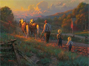 "Mark Keathley Hand Signed and Numbered Limited Edition Embellished Canvas Giclee:""Sowin' Love"""