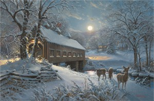 "Mark Keathley Hand Signed and Numbered Limited Edition Embellished Canvas Giclee:""Moonlit Passage"""