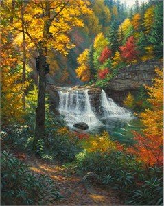 "Mark Keathley Hand Signed and Numbered Limited Edition Embellished Canvas Giclee:""Bear Valley """