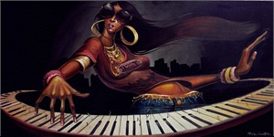 "Frank Morrison Hand Signed and Numbered Limited Edition Giclee on Paper:""Diva N Keys"""