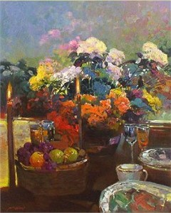 "Ming Feng Limited Edition Embellished Giclee on Canvas: ""Candlelight Dinner"""