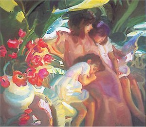 """John Asaro Limited Edition Silk Screen Embellished Giclee on Paper : """" A Summer Story """""""