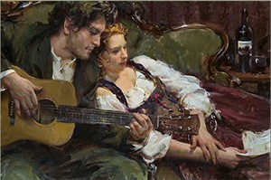 "Daniel F. Gerhartz Hand Signed and Numbered Limited Edition Canvas Giclee: ""The Ballad"""