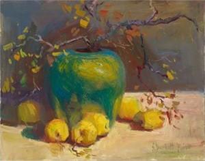 "S. Burkett Kaiser Limited Edition Iris Graphic: "" Green Vase with Lemons """