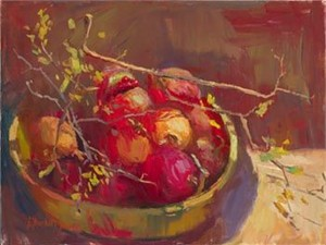 "S. Burkett Kaiser Limited Edition Iris Graphic on canvas: "" Pomegranates """