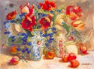 "S. Burkett Kaiser Limited Edition Iris Graphic: "" Tulips and Peaches """