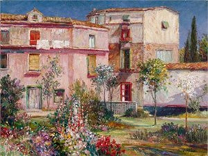 "Henri Plisson Limited Edition Iris Graphic on Paper: "" Casa Majorca """