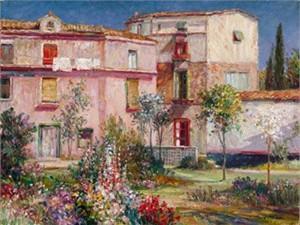 "Henri Plisson Limited Edition Iris Graphic on canvas: "" Casa Majorca """