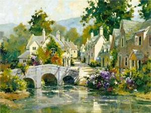 """Marilyn Simandle Limited Edition Iris Graphic: """" Bridge in Cotswold """""""