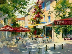 "Marilyn Simandle Limited Edition Giclee on Textured Canvas: ""Le Bistro"""