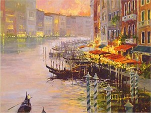 "Marilyn Simandle Handsigned and Numbered  Enhanced Giclee with Silkscreen Varnishes: ""Canal at Dusk"""