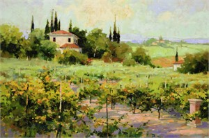 "Marilyn Simandle Limited Edition Hand Embellished Giclee on Canvas: ""The Vineyard """