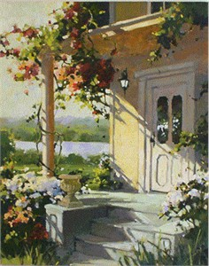 "Marilyn Simandle Limited Edition Embellished Giclee on canvas: "" Summer Villa """