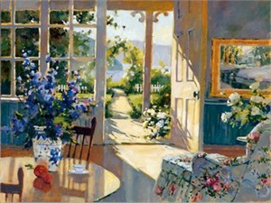 "Marilyn Simandle Limited Edition Iris Graphic on canvas: "" Sunlit Cottage """