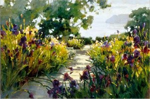 """Marilyn Simandle Limited Edition Iris Graphic Giclee on Paper  with Silksceen Varnishes: """" Sunlit Path """""""