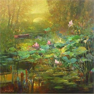 "Ming Feng Limited Edition Embellished Giclee on Canvas: ""Golden Lily Pads"""