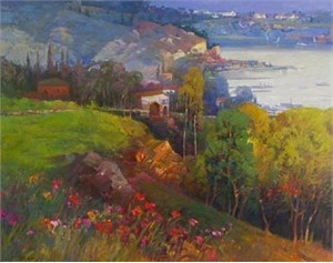 "Ming Feng Limited Edition Embellished Giclee on Canvas: ""Seaview """