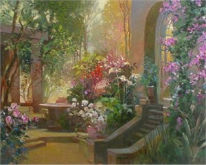 "Ming Feng Limited Edition Embellished Giclee on Canvas: ""Sunlit Passage"""