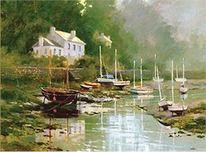 "Marilyn Simandle Handsigned and Numbered  Enhanced Giclee with Silkscreen Varnishes: ""Port Aven"""