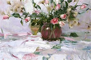 "Daniel F. Gerhartz Handsigned and Numbered Limited Edition Giclee on Canvas:""Roses and Thistle"""