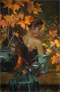 "Daniel F. Gerhartz Handsigned and Numbered Limited Edition Enhanced Canvas Giclee with Silkscreen Varnishes : ""October Glow"""