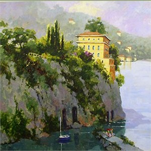 """Marilyn Simandle Handsigned and Numbered  Enhanced Giclee with Silkscreen Varnishes: """"Amalfi"""""""