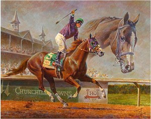 "Fred Stone Handsigned & Numbered Limited Edition Canvas:""California Chrome - Victor Espinoza Up """
