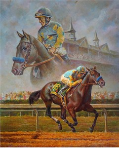 "Fred Stone Co-Signed & Numbered Limited Edition Canvas:""American Pharoah - commenorating the 12th American Triple Crown Winner"""