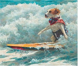 """Fred Stone Handsigned and Numbered Limited Edition Canvas:""""Surf's Up - Buddy the Surf Dog"""""""