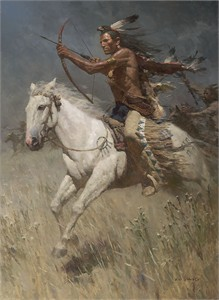 "Z.S. Liang Hand Signed and Numbered Giclée Canvas:""Charging the Enemy"""