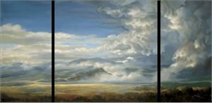 "Roberta Wesley Limited Edition Triptych Studio Wrap Canvas Giclée :""Prairie Storm"""