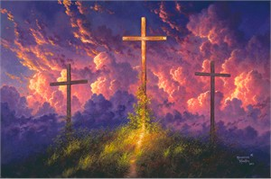 "Abraham Hunter Hand Signed and Numbered Limited Edition Embellished Canvas Giclee:"" Old Rugged Cross"""