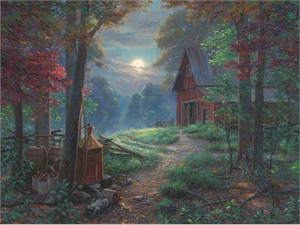 "Mark Keathley Hand Signed and Numbered Limited Edition Embellished Canvas Giclee:""Moonshine"""