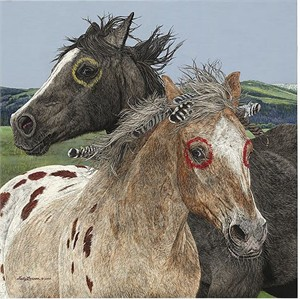 "Judy Larson Handsigned and Numbered Limited Edition Giclee: ""Ebenezer and the War Horse"""