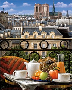 "Liudmila Kondakova Hand-signed and Numbered Limited Edition Serigraph:""Breakfast on the Balcony"""