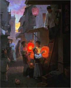 "Mian Situ Handsigned and Numbered Limited Edition Giclee on Canvas:"" Preparing for the Festival, San Francisco, 1904 """