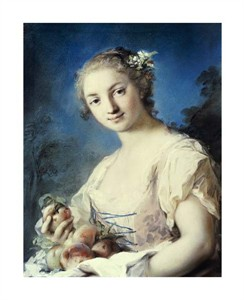 """Rosalba Carriera Fine Art Open Edition Giclée:""""Summer: a Girl Holding Peaches"""""""