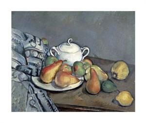 "Paul Cezanne Fine Art Open Edition Giclée:""Sugar Bowl, Pears and Curtain"""
