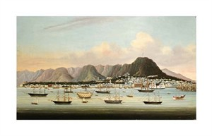 "Chinese School Fine Art Open Edition Giclée:""A View of Victoria, Hong Kong, with the Hulk H.M.S Princess Charlotte"""